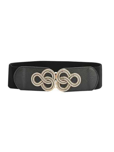 chic Buckle Wide Elastic Belt - BLACK  Mobile