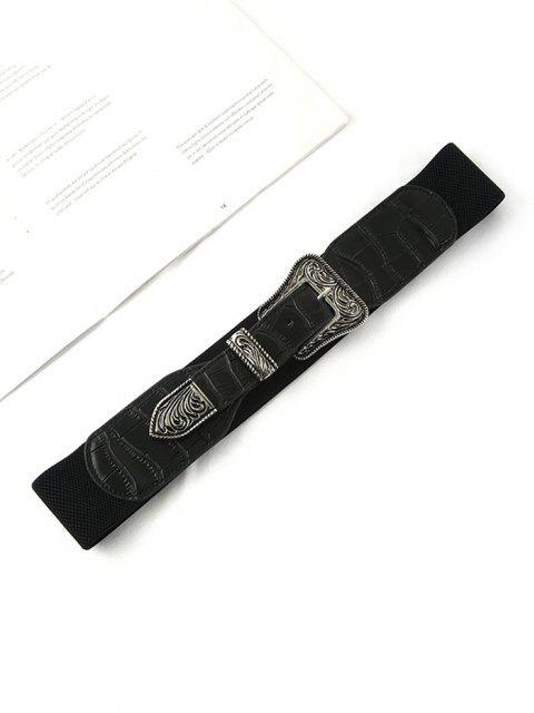 fancy Retro Carving Buckle Elastic Belt - BLACK  Mobile