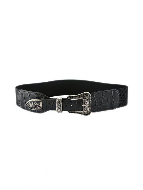 Retro Carving Buckle Elastic Belt - أسود  Mobile