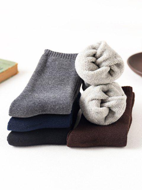 5 Pairs Solid Fleece Socks Set - متعدد  Mobile