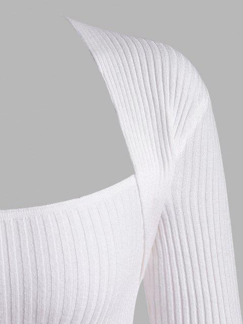 Gerippter Überlagerte Peekaboo TVdrucl Fallschulter Pullover - Weiß Eine Größe Mobile