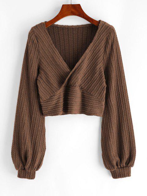 fancy Cable Knit Surplice Cropped Knitwear - COFFEE M Mobile