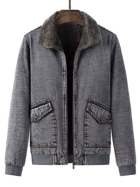 hot Faux Fur Lined Jean Jacket - GRAY M Mobile