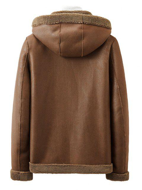 chic Reversible Zip Up Teddy Suede Hooded Jacket - COFFEE L Mobile