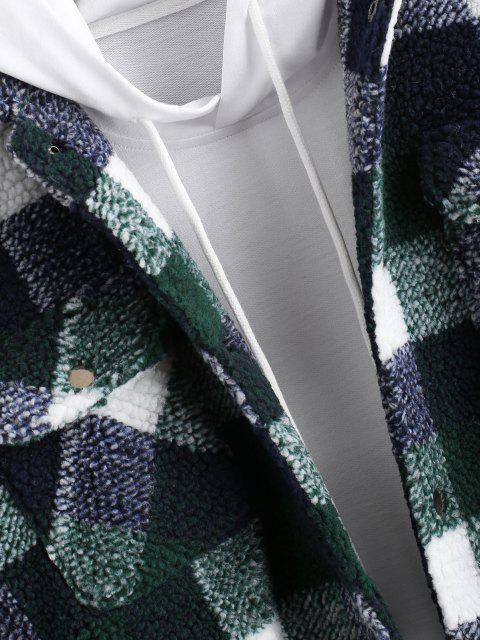 latest Plaid Pattern Double Pockets Faux Shearling Jacket - DEEP GREEN 2XL Mobile