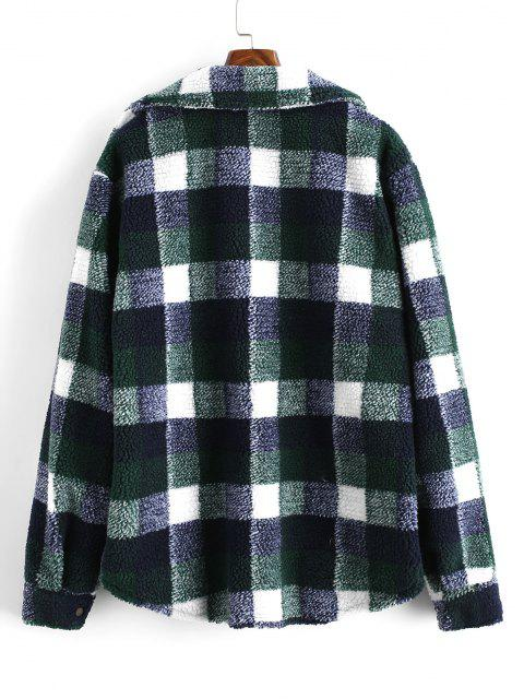 Plaid Pattern Double Pockets Faux Shearling Jacket - ديب غرين 2XL Mobile