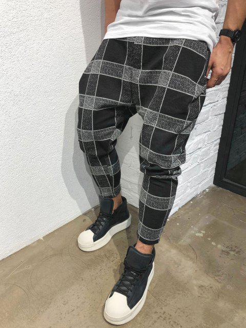 Pantalones Casuales Estampado Cuadros y Cordones - Negro L Mobile