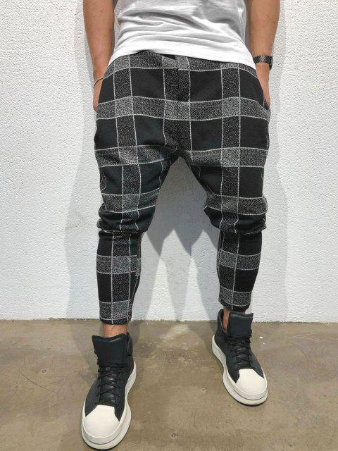 Pantalones Casuales Estampado Cuadros y Cordones - Negro XS Mobile