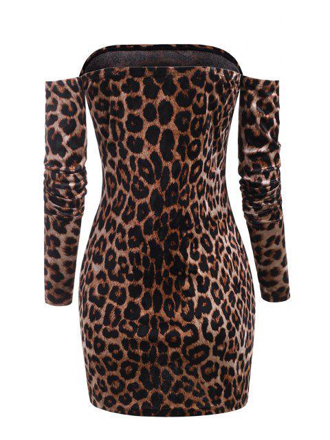 sale Leopard Velvet Off Shoulder Club Dress - DEEP COFFEE S Mobile