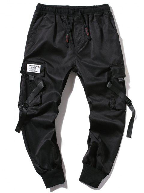 Pantalones Jogger de Correa Hebilla de Letras - Negro S Mobile