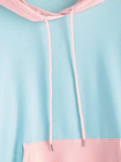 fancy Drawstring Kangaroo Pocket Colorblock Hoodie - LIGHT BLUE M Mobile