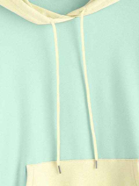 Lazo del Bolsillo Canguro con Sudadera con Capucha Colorblock - Verde claro S Mobile