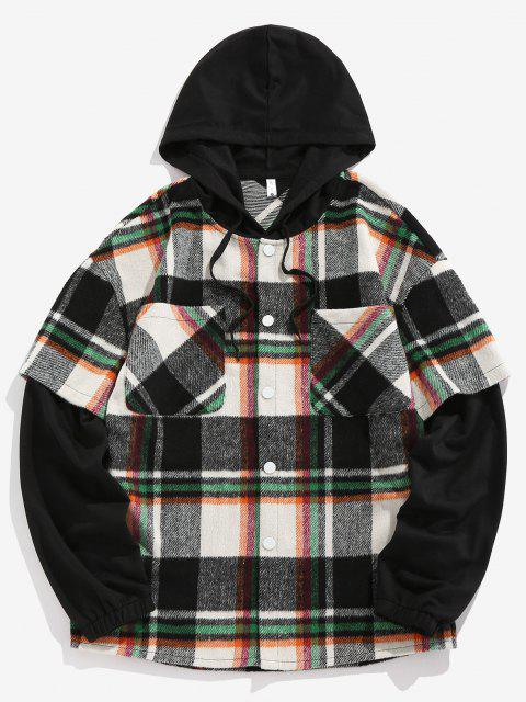 new ZAFUL Hooded Plaid Print Double Pockets Faux Twinset Shirt - GREEN S Mobile
