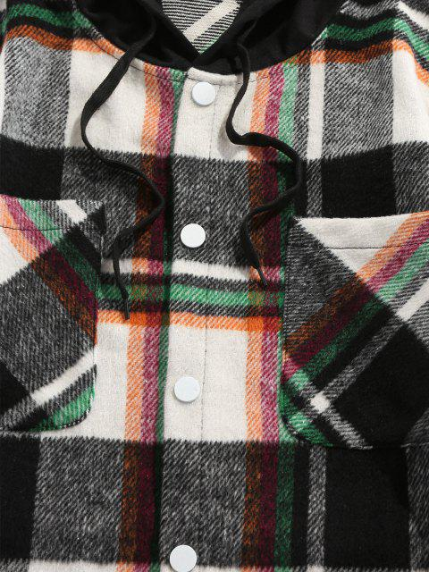 outfit ZAFUL Hooded Plaid Print Double Pockets Faux Twinset Shirt - GREEN XL Mobile