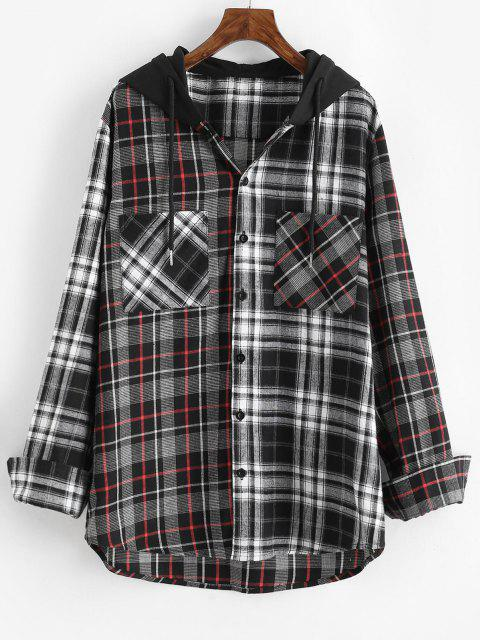 ladies Plaid Pattern Pocket Hooded Shirt - GRAY 2XL Mobile