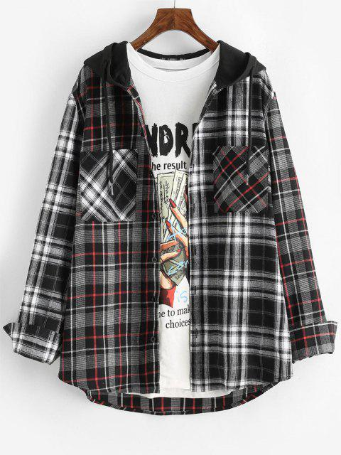 best Plaid Pattern Pocket Hooded Shirt - GRAY L Mobile
