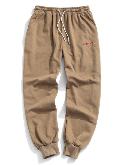 women's Embroidery Letter Drawstring Jogger Sweatpants - COFFEE 2XL Mobile