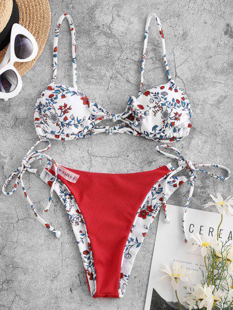 Costume da Bagno Bikini di ZAFUL Floreale a Costine - Bianca S Mobile