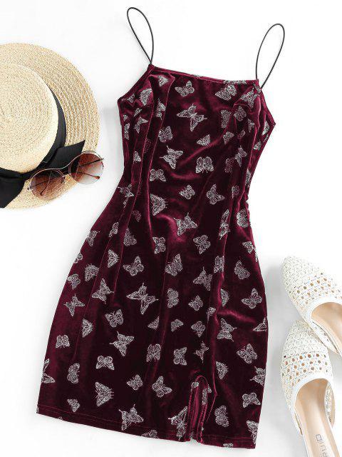 ladies ZAFUL Metallic Butterfly Slit Velvet Cami Dress - DEEP RED M Mobile