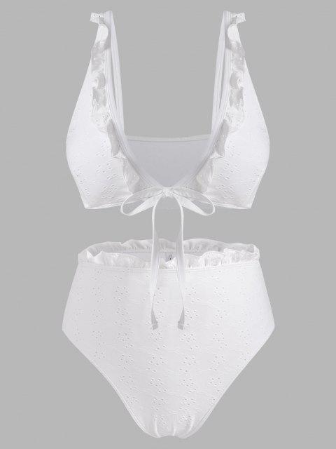ZAFUL Maillot de Bain Bikini Broderie Anglaise à Coupe Basse de Grande Taille à Volants - Blanc XXXL Mobile