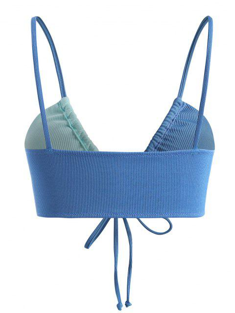 ZAFUL Enrugado Bloco de Cores Camisola Top de Biquíni - Azul XXL Mobile