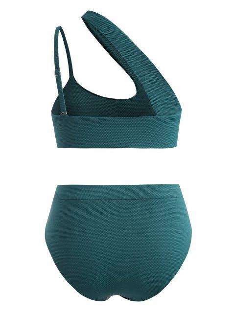 ZAFUL Bikini de Talla Grande Recortado de Un Hombro - Verde Oscuro XXXXL Mobile