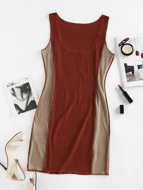 affordable ZAFUL Ribbed Colorblock Topstitching Tank Dress - COFFEE M Mobile