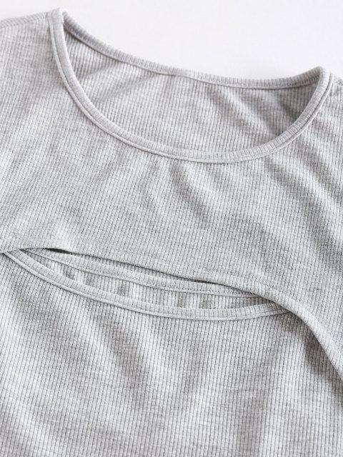 ZAFUL Geripptes Ausschnitt Crop Top und Shorts Co Ord Set - Hellgrau XL Mobile