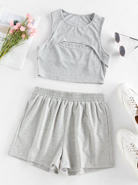 womens ZAFUL Ribbed Cutout Crop Top and Shorts Co Ord Set - LIGHT GRAY S Mobile