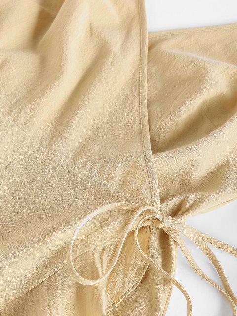 fashion ZAFUL Flounce Asymmetric Wrap Slip Dress - LIGHT COFFEE L Mobile