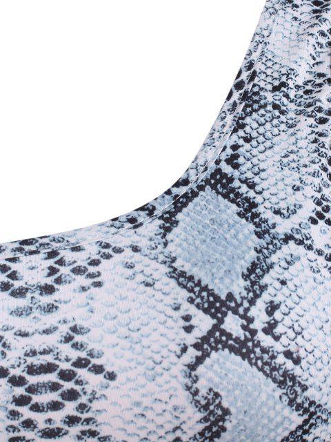 Schlangedruck Ausschnitt Einziger Schulter Geraffte Kleid - Grau S Mobile