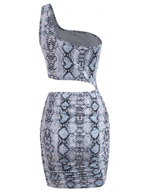 shops Snake Print Cutout One Shoulder Ruched Dress - GRAY M Mobile