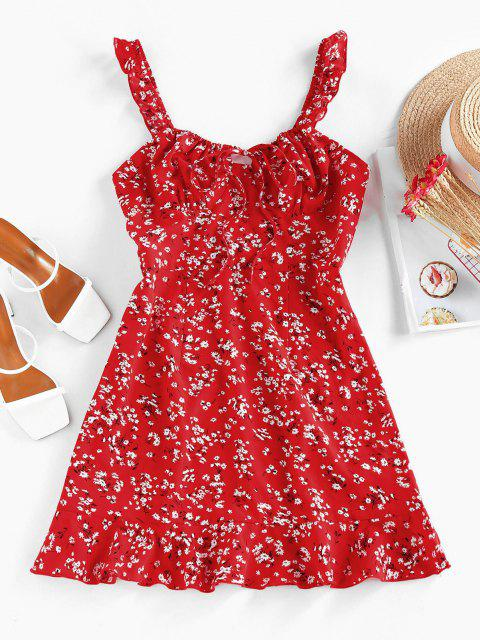 ladies ZAFUL Ditsy Floral Ruched Tie Ruffle Dress - RED M Mobile