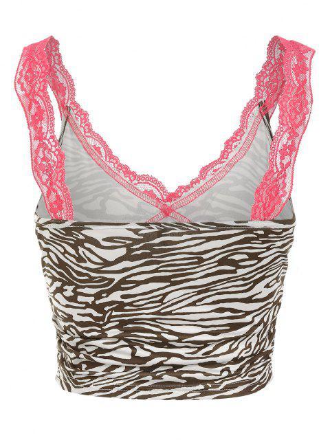 outfit ZAFUL Zebra Print Lace Panel Crop Tank Top - OAK BROWN L Mobile