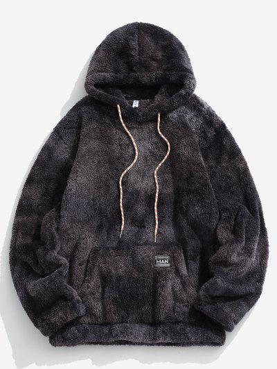 Kangaroo Pocket Tie Dye Faux Fur Fluffy Hoodie - Dark Gray L