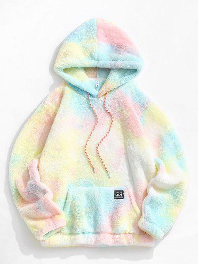 Applique Detail Tie Dye Pattern Fluffy Hoodie - Light Pink 2xl