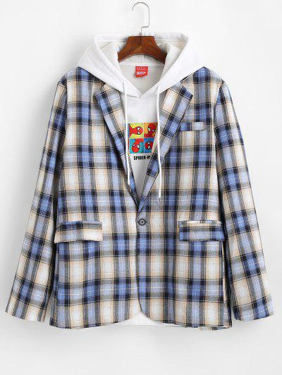 Plaid Pattern Slit Single Button Blazer - Blueberry Blue L