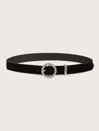 Rhinestone Circle Pin Buckle Belt - Black