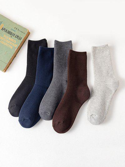 5 Pairs Solid Fleece Socks Set - Multi