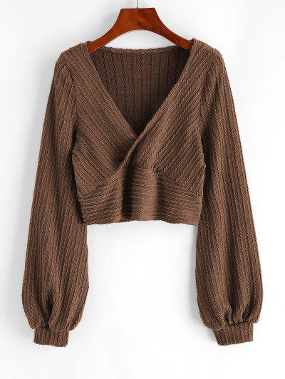 Cable Knit Surplice Cropped Knitwear - Coffee M