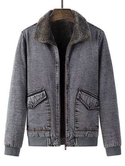 Faux Fur Lined Jean Jacket - Gray L
