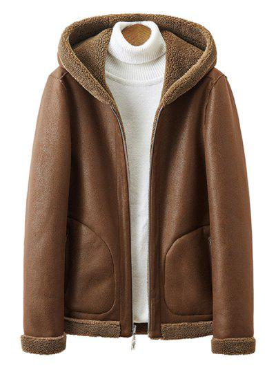 Reversible Zip Up Teddy Suede Hooded Jacket - Coffee S