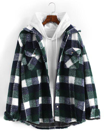 Plaid Pattern Double Pockets Faux Shearling Jacket - Deep Green Xl