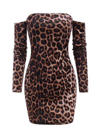 Leopard Velvet Off Shoulder Club Dress - Deep Coffee M
