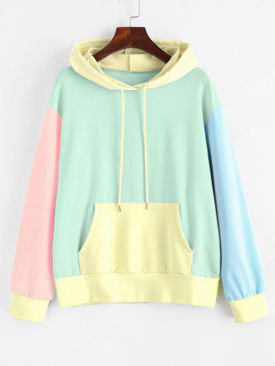 Drawstring Kangaroo Pocket Colorblock Hoodie - Light Green M