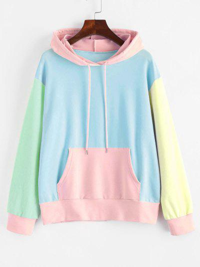 Drawstring Kangaroo Pocket Colorblock Hoodie - Light Blue S