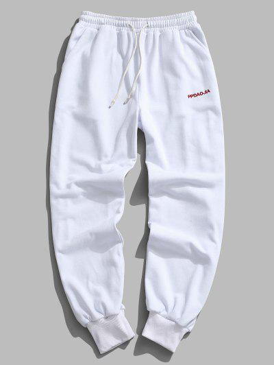 Embroidery Letter Drawstring Jogger Sweatpants - White 2xl