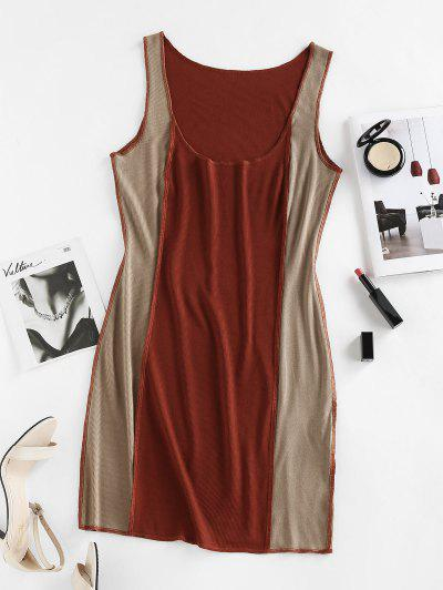 ZAFUL Ribbed Colorblock Topstitching Tank Dress - Coffee S