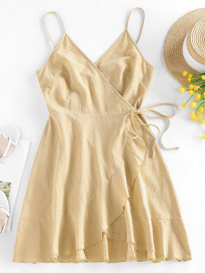 ZAFUL Flounce Asymmetric Wrap Slip Dress - Light Coffee M