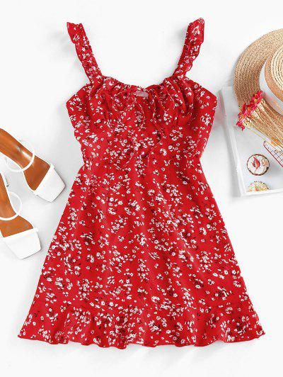 ZAFUL Ditsy Floral Ruched Tie Ruffle Dress - Red M